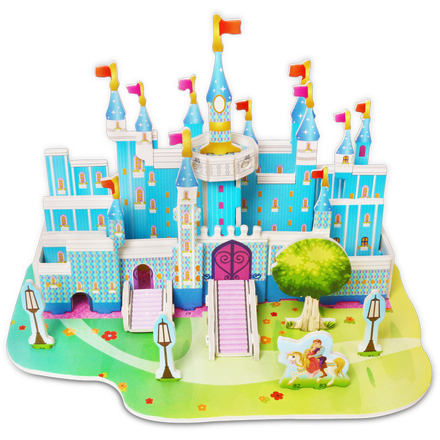 Attractive Cartoon Castle Garden Zoo Princess House 3D Puzzle Jigsaw Paper Model Learning Educational Toys For Children Kid Gift 2