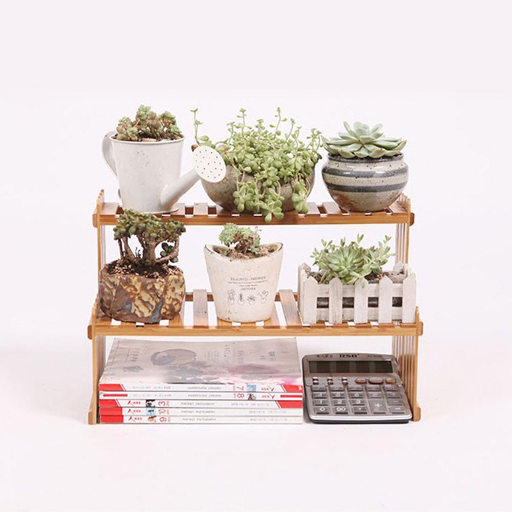 Plant Shelf Flower Display Stand Bamboo Wood Storage Rack Garden Organizer