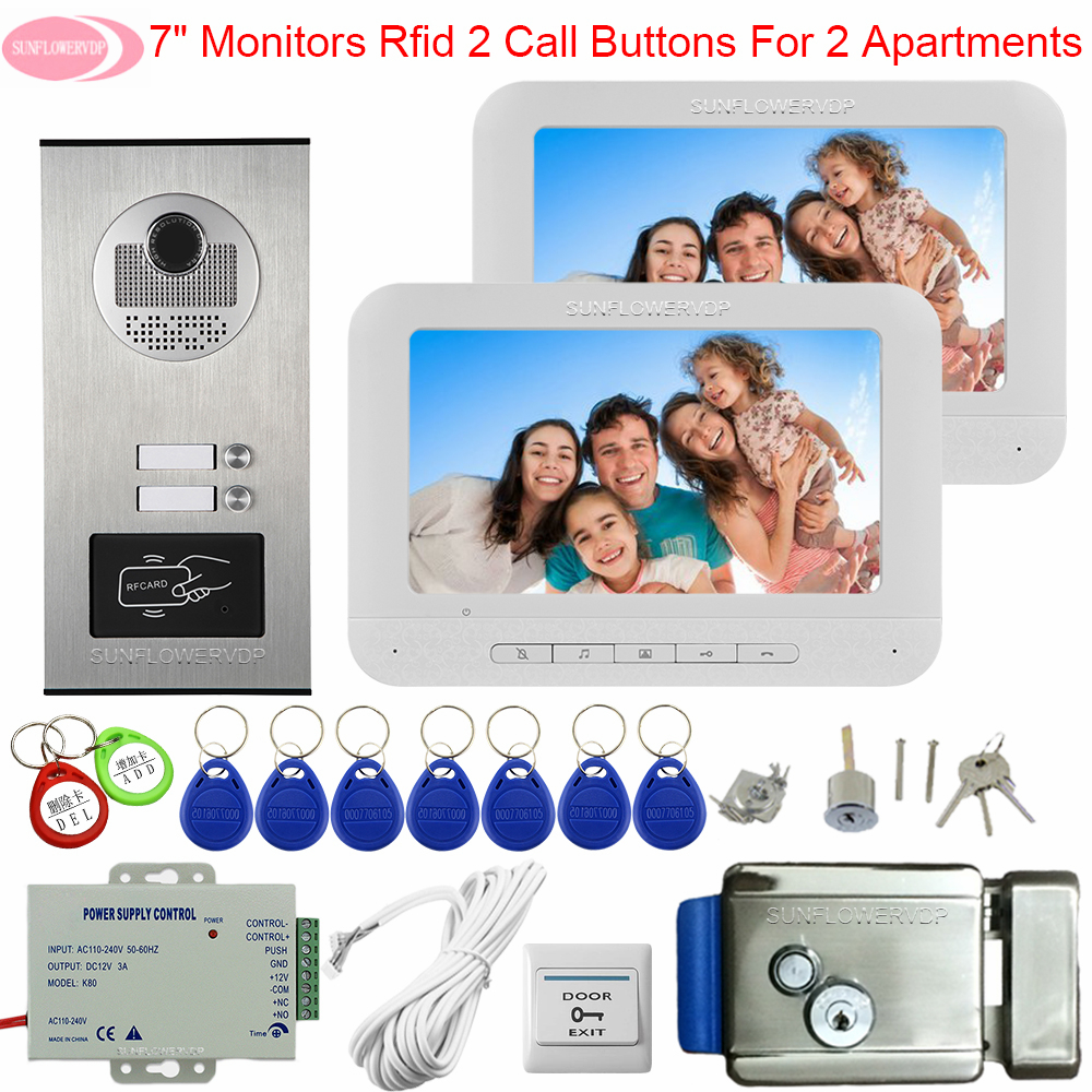 For 2 Apartments Door Station For Video Intercom 7