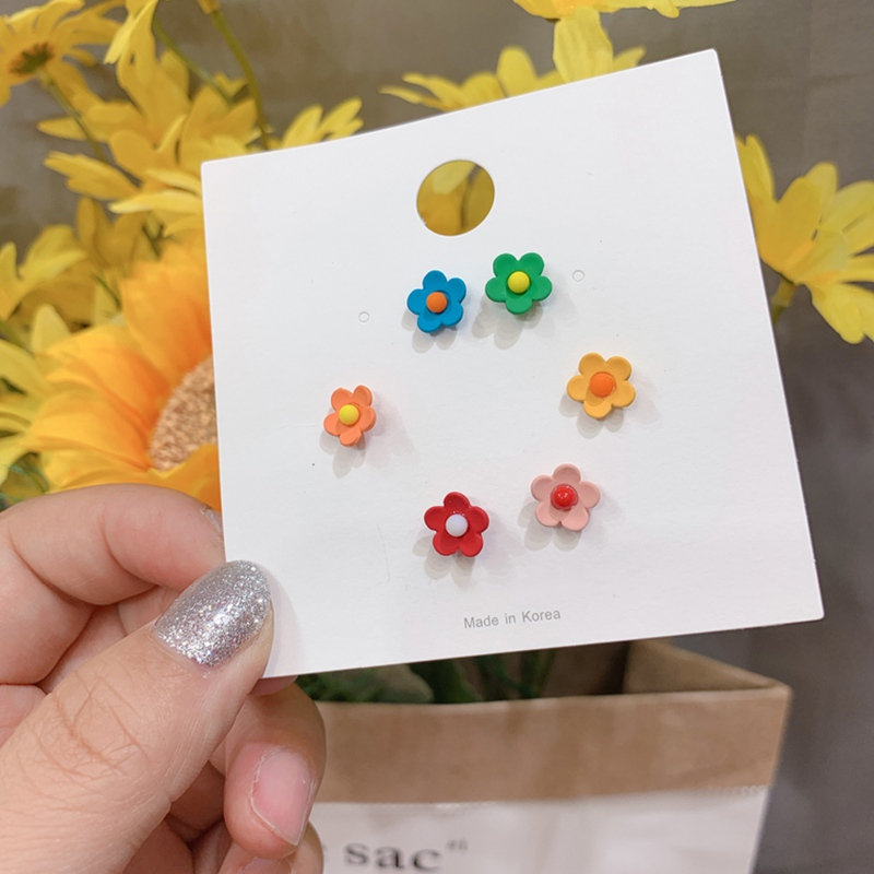 MENGJIQIAO Fashion Summer Holiday Colorful Metal Cute Flower Stud Earrings For Women Girls Simple Mini Oorbellen Jewelry Gifts