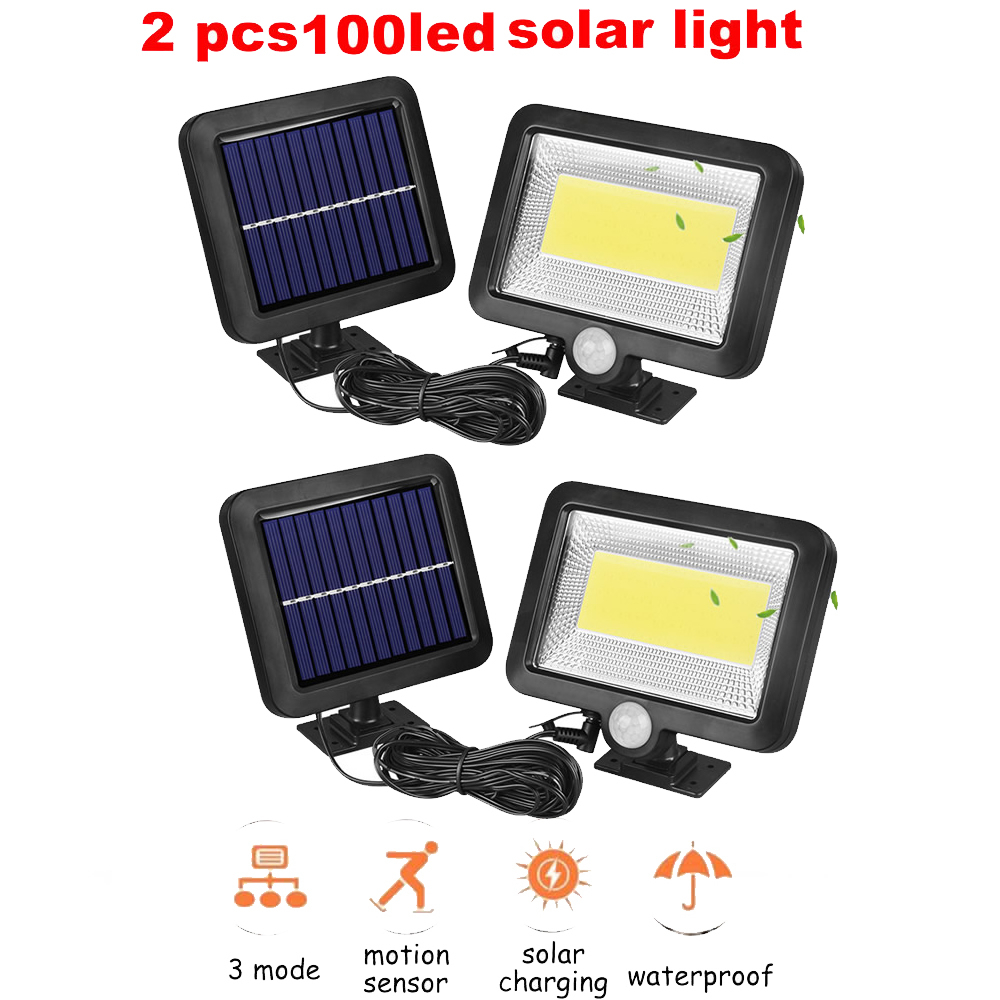 2/4pcs Solar Light 100/56/30 Led Garden Wall Lamp PIR Sensor Motion 4 Modes Emergency With Adjustable Pole For Outdoor Lighting