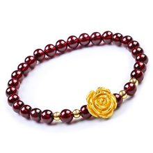 Manufacturer sells directly garnet-like bracelet with three beads and 6 mm coin-plated rose ferret Bracelet(China)