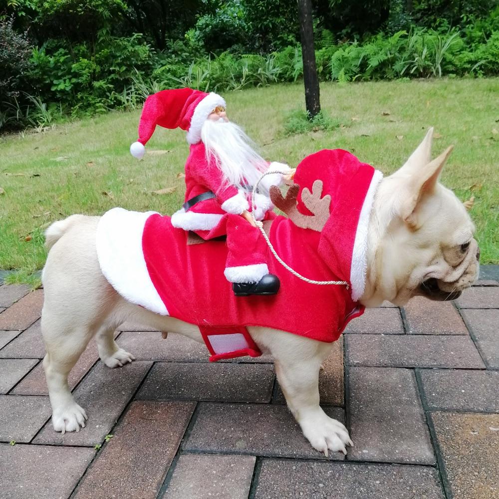 Running Santa Christmas Pet Costumes, Santa Dog Costume Party Dressing Up Clothing For Small Large Dog Cat Pet Chrismas Costume