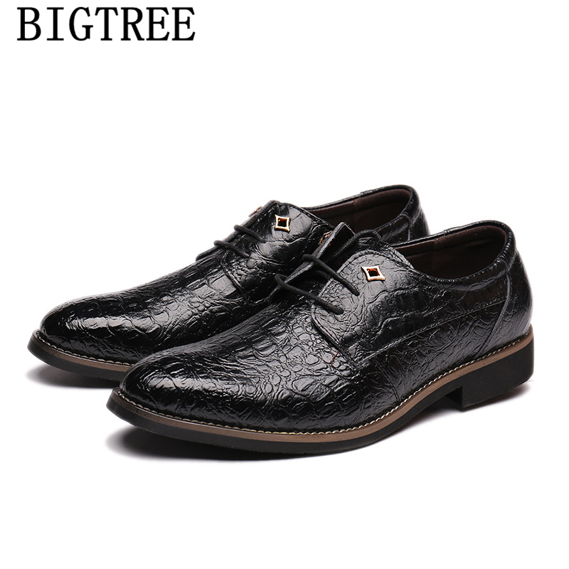 Classic Mens Dress Shoes Genuine Leather Crocodile Lace-up Italian Luxury Brand Flat Formal Oxfords Wedding Shoes Sapato Social