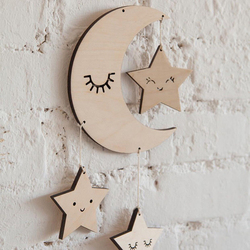 Baby Room Decor INS Style Wooden Moon Stars Clouds Toy For Newborn Wall Hanging Ornaments Crib Bed Bell Room Photography Prop