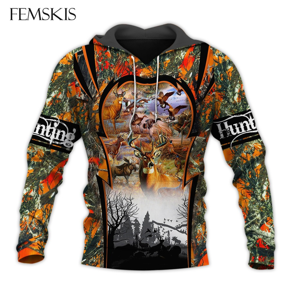 FEMSKIS Forest hunting Deer Tatoo 3D Print Men Women Hoodies Sweatshirts Harajuku Fashion Hooded Autumn Hoody Casual Streetwear