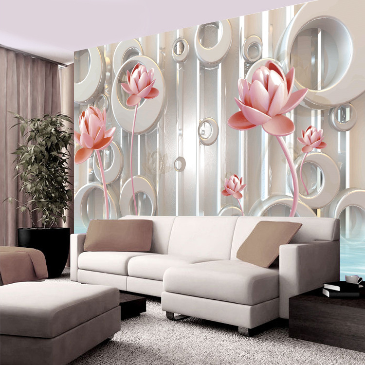 Modern Chinese Style Simple Relief Lotus 3D Wallpaper Seamless Mural Customizable Living Room Television Background Wall Wallpap