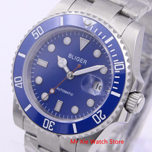 Bliger 40mm Automatic Mechanical Men Watch Luxury Brand Sapphire Crystal