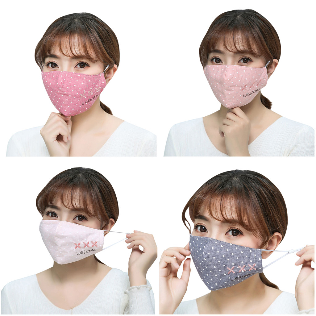 4 Pcs Men And Women Adult Washable Anti Dust Mask Masque Anti Virus Adulte Girl Cotton Letter Print Mask Mascarillas Breathable
