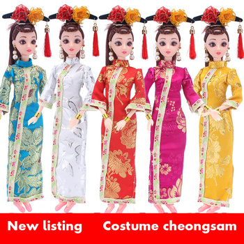 30cm doll clothes Doll cheongsam costume ancient style bjd clothes doll girl toy princess skirt baby doll accessories Wholesale aifei doll