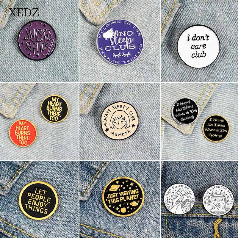 Xedz Mode Tekst Lui/Magic/Girly/Planet/Genieten/Club Multicolor Geometrische Ronde Badge Badge Zink legering Denim Hanger Sieraden Gif