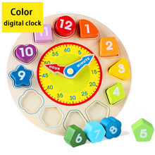 Wooden Color digital clock educational toy building block clock baby early learning toys for children baby early learning wooden children walker