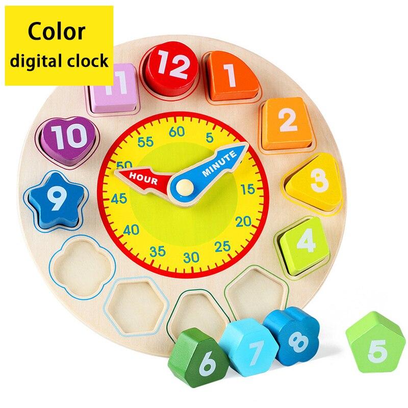 cor de madeira relogio digital brinquedo educacional bloco construcao relogio bebe aprendizagem precoce brinquedos para criancas