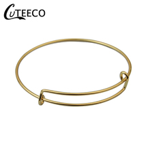 CUTEECO Gold Stainless steel DIY adjustable push-pull bracelet movable Bangles Female Charm Bracelet for Women Jewelry