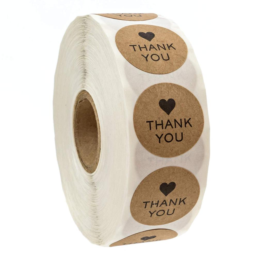 500pcs Kraft Paper Thank You Sticker With Heart For Business Bag Seal Labels Kids Toy Wedding Party Decoration Sticker