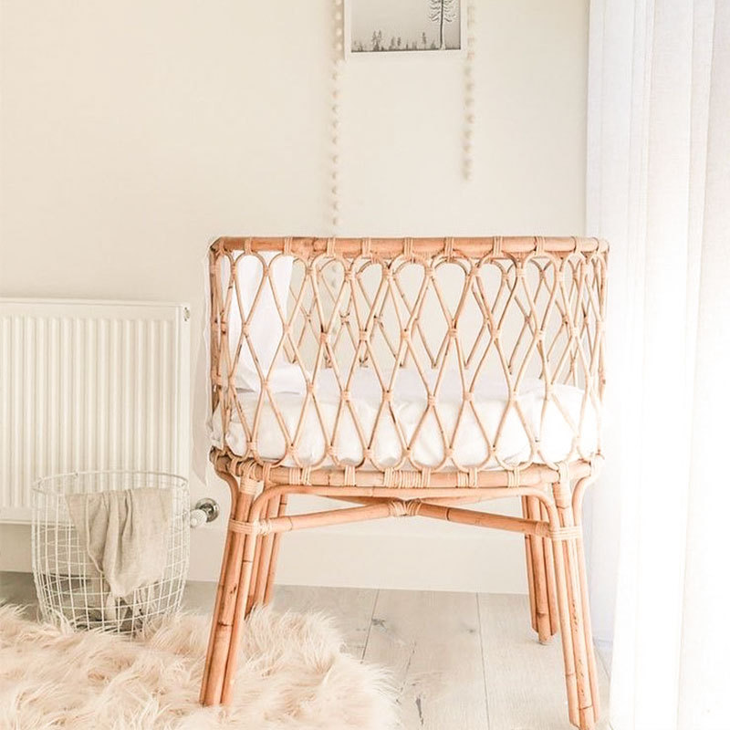Scandinavian Style 100% Natural Rattan Crib Nordic Style INS Newborn Bed Infant Sleeping Cradle Rattan Baby Sleep Bed