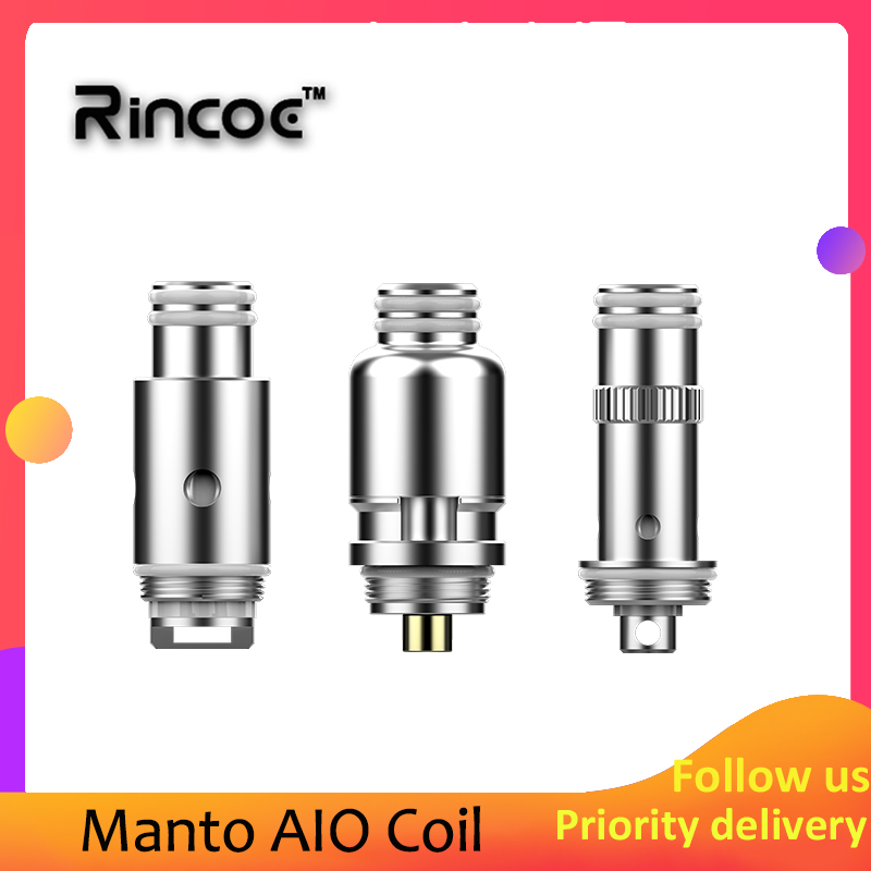 Electronic Cigarette Rincoe Manto AIO Coil 0.3ohm Mesh/ 1.2ohm Regular/ RBA Single Coil Vape Core For Rincoe Manto AIO 80W Kit