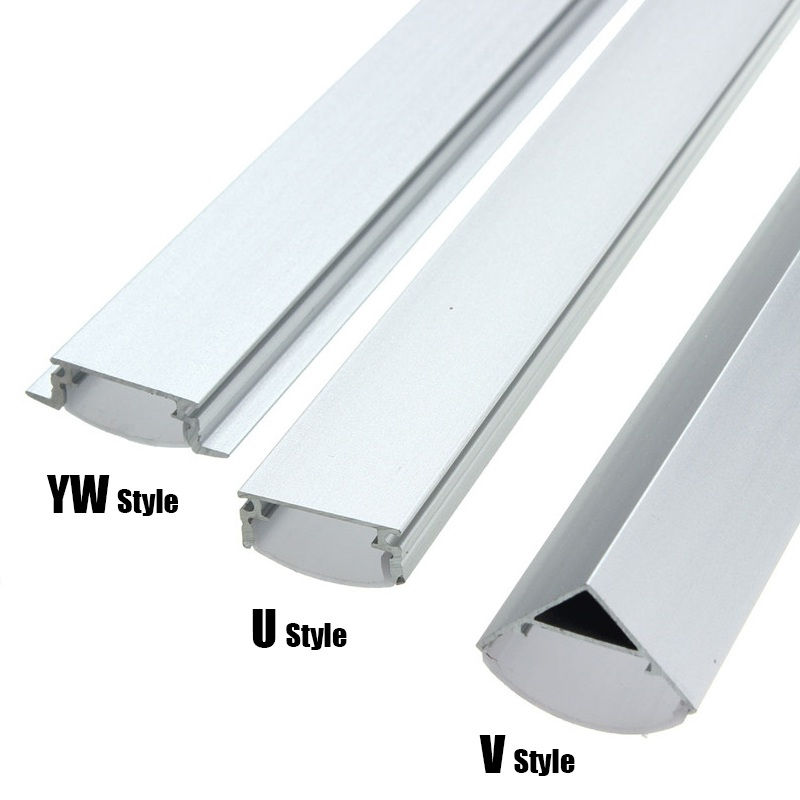 30/45/50cm U/V/YW-Style Shaped LED Bar Lights Aluminum Channel Holder Milk Cover End Up Lighting Accessories For LED Strip Light