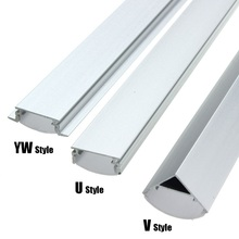 30/45/50cm u/v/yw style deu forma luzes de barra de led suporte de canal de alumínio cobertura de leite acabam iluminando acessórios para a luz de tira conduzida
