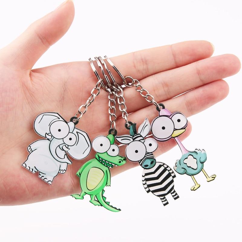 Cute Cartoon Zebra Keychain Acrylic Animal Key Chain Woman Men Kids Gift Key Ring Porte Clef