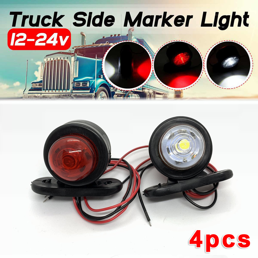 4Pcs 12V / 24V LED Side Marker Lights Taillights Car External Lights Warning Tail Light Auto Trailer Truck Lorry Lamps White/Red