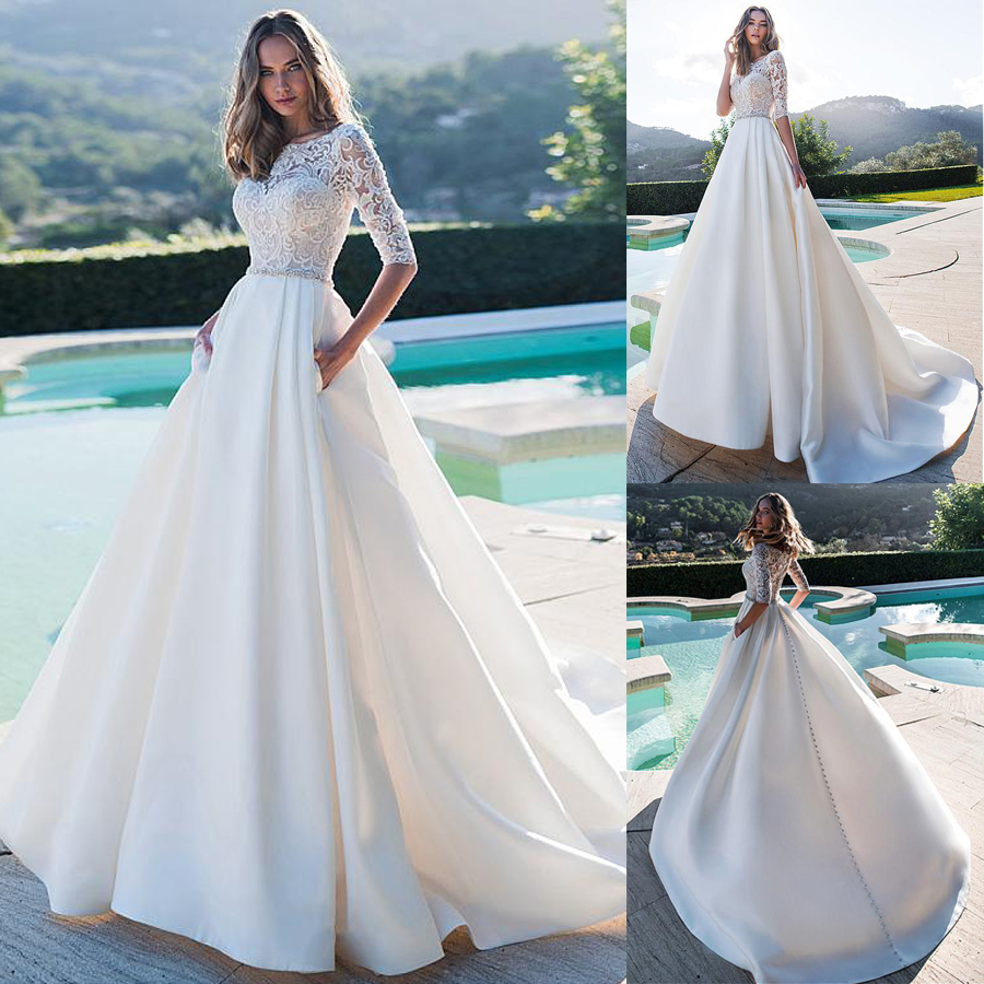Exquisite White Lace And Satin Wedding Dresses Scoop Court Train Beading Illusion Natural-Waisted Bridal Gowns With Pockets