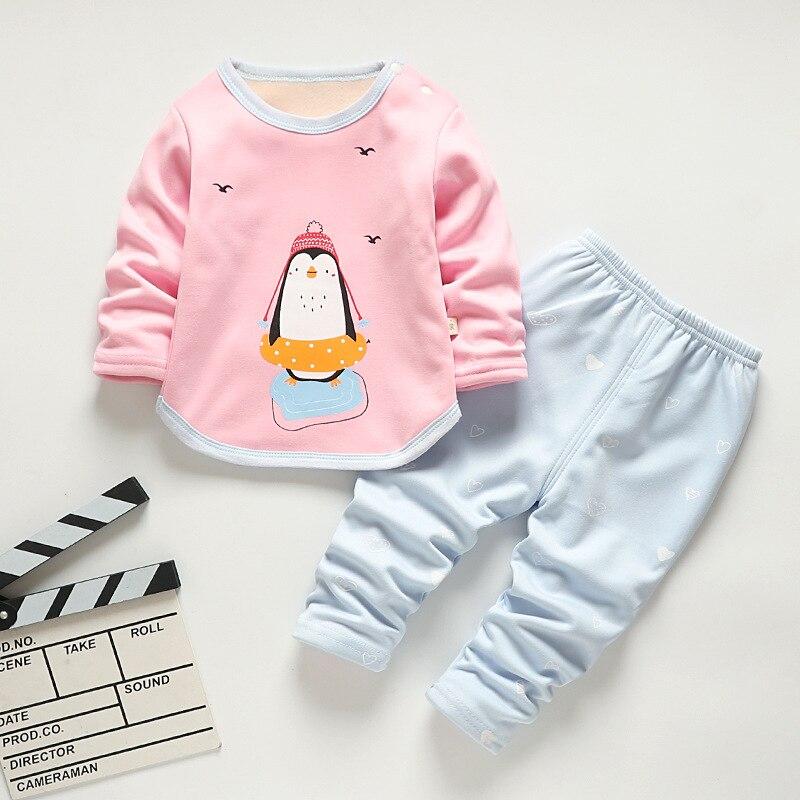Baby Kids Pajamas Sets Boys Sleepwear Suit Autumn Winter Warm Girls Long Sleeve Pijamas Tops+Pants 2pcs Children Clothing 3