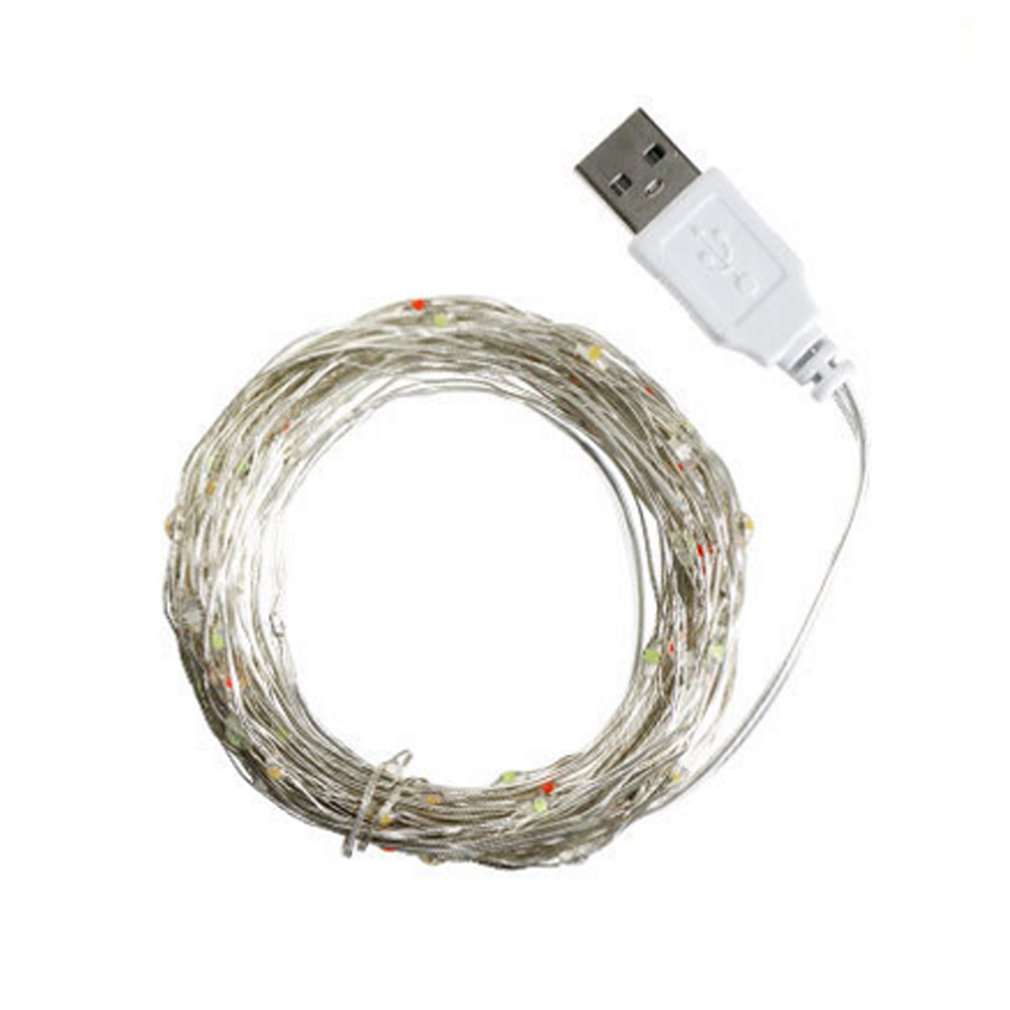10m 100 Led Holiday Light String Usb With Remote Control Light String Silver Line Light String Christmas Decoration Small Lights