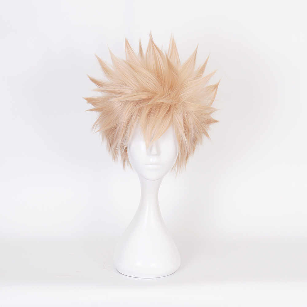 Hot Japanese Anime My Hero Academia Bakugou Katsuki Cosplay Golden Short Hair Wigs Ball Party Costume Unisex Can be Dyed Again