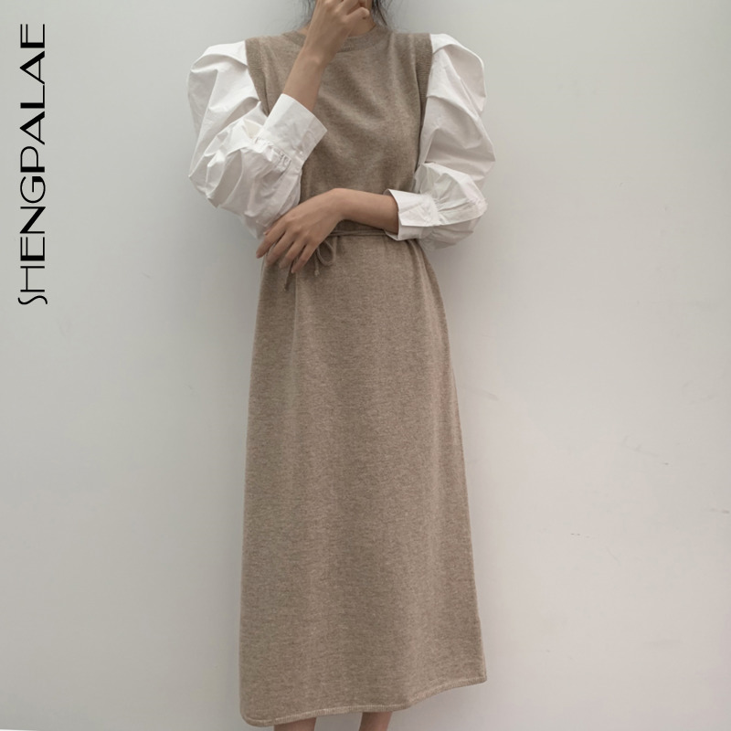 SHENGPALAE 2020 New Autumn Women Vintage Loose High Waist Slim Was Thin Elegant Hit Color Lantern Sleeve Maxi Dress ZA5805