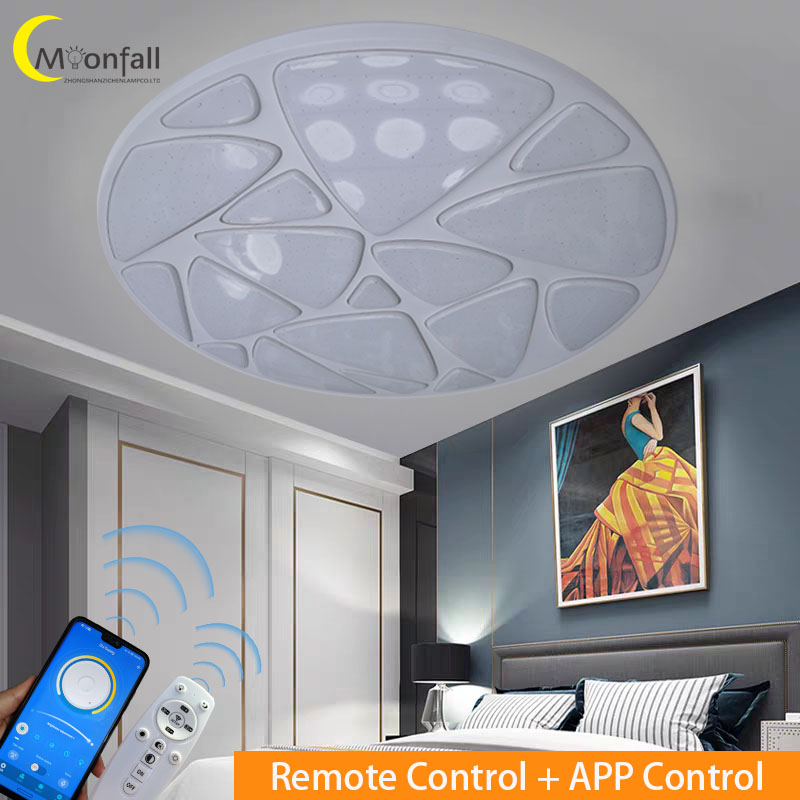 Купить с кэшбэком LED Ceiling Light with Iron and Crystal Lighting Modern RGB Round lamp for living room Bedroom 36W 48W lighting Remote Control