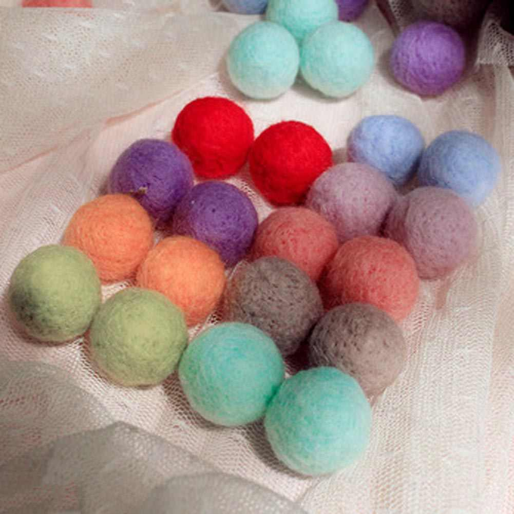 10pcs/lot Color Random Felt Balls Beads Wool Felt Ball 20mm Multicolors Flocking Ball Wool Balls Colourful Beads 2019 Dropship