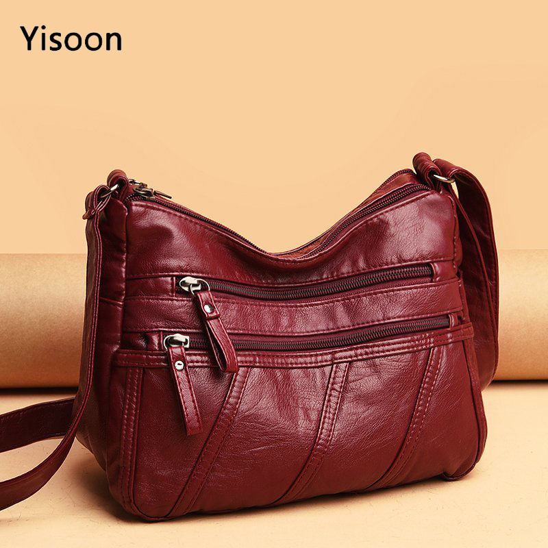 New Spring Women's Soft Leather Shoulder Bags Classic Casual Crossbody Bag For Female High Quality Washing Purses and Handbags