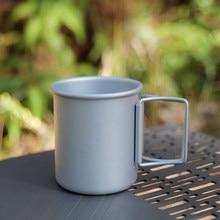 Joshock dobrável ao ar livre copo portátil ultraleve de acampamento de alumínio copo com alça dobrável copo equipamentos cozinha