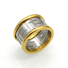 New Designer Rings for Women Great Wall Pattern Gold+Steel Two-color Hollow Stainless Steel Ring Female Jewelry tarot rc original kst ds725mg standard hv metal case metal gear digital servo for 550 rc helicopter airplane
