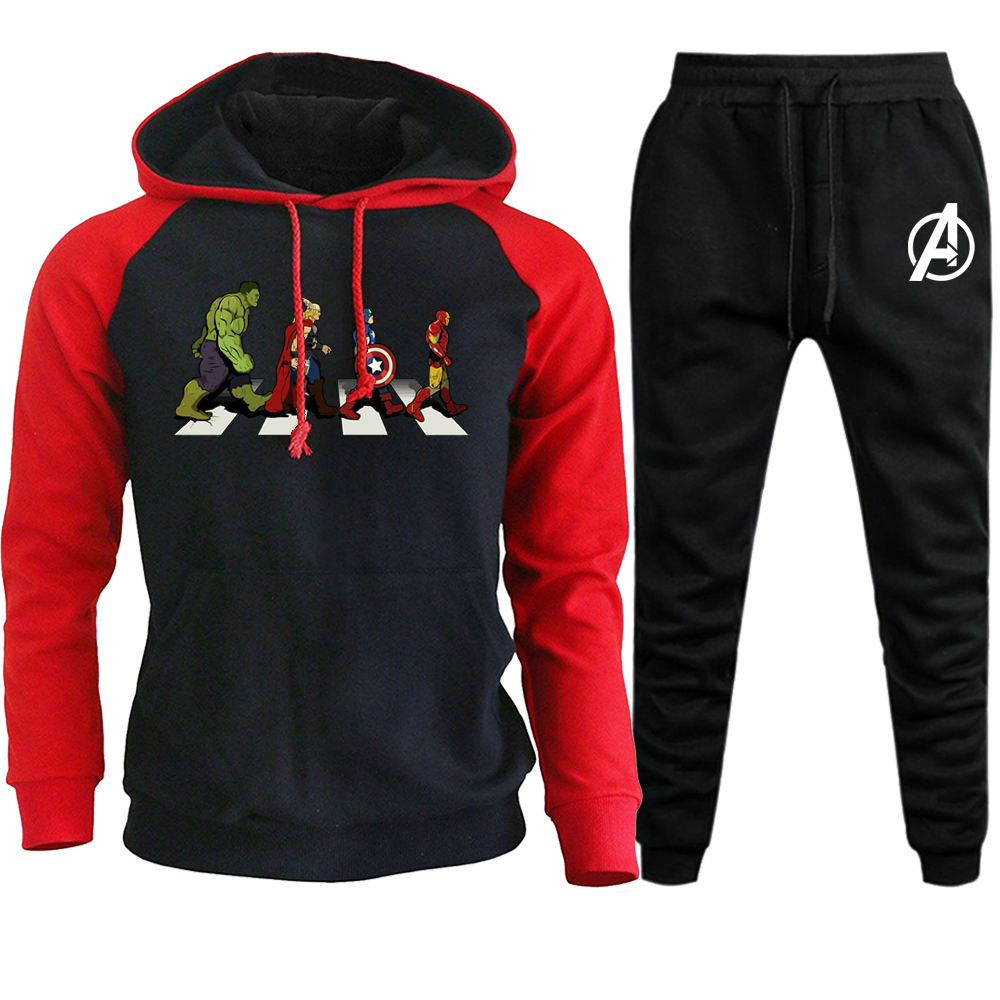 2019 Men's Hot Clothing Marvel Avengers Print Hooded Sweatshirt+pant Mens Sets Casual Sportswear Iron Man Pullovers Hoodies Pant