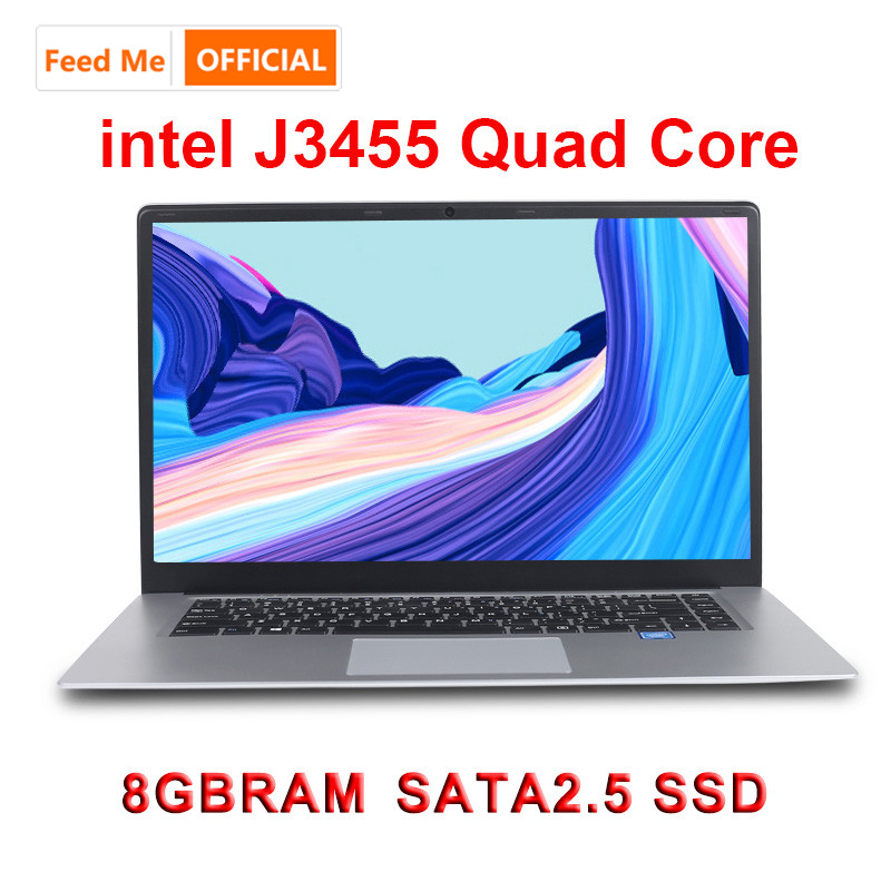 15.6 Inch Laptop 8G RAM 512G 256G 128G SSD Intel J3455 Quad Core Student Computer Ultrabook Notebook  With RJ45 Port For Office