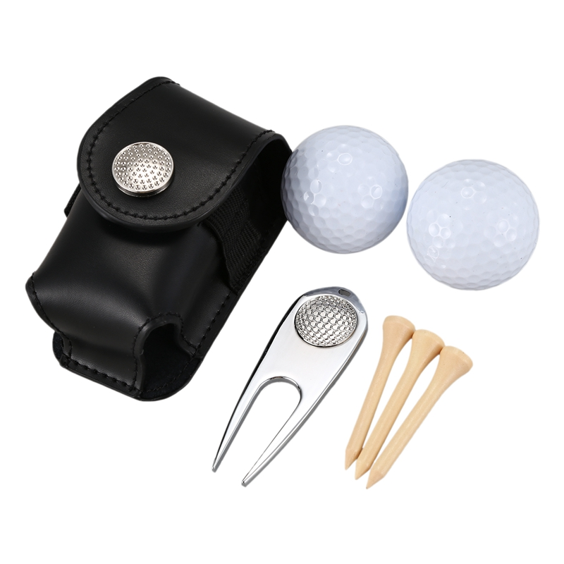 TOP!-7PCS/Set Golf Ball Bag Holder Clip Leather Waist Pack Utility Pouch Golf Training Aids With Ball Tees Divot Golf Sports Equ