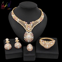 Yulaili New Luxury Dubai Jewelry Sets African Crystal Flower Pendant Necklace Stud Earrings for Women Event Wedding Accessories
