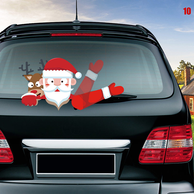 Car Rear Wiper Decal Sticker Windshield Christmas Santa Claus Waving Decor Ornament M8617