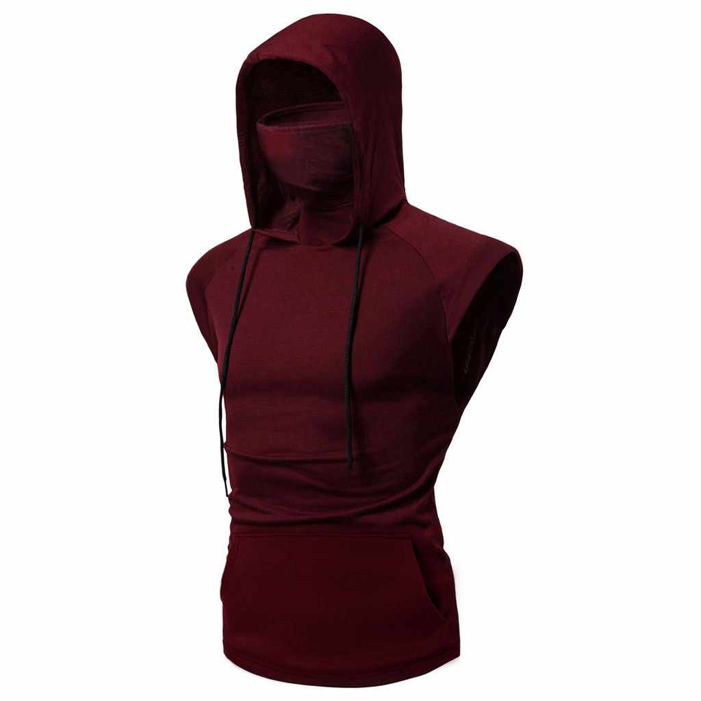 Tank Tops Mens Muscle Hoodie Top Tees Bodybuilding Gym Training Ärmel Weste ninja uniform Maske Zwei Stücke shirt Männer Mode
