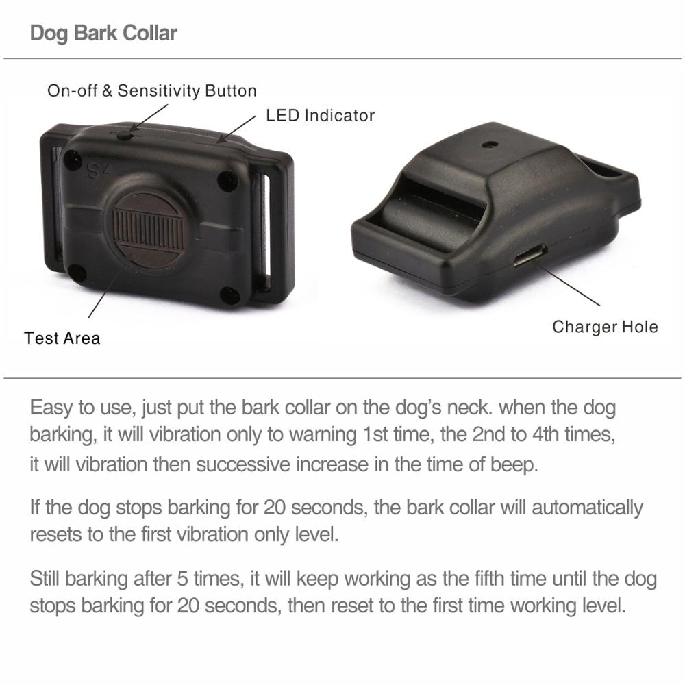 Dog Bark Collar Pet Product Bark Stop Automatic Anti Bark Control Collar Electric No Shock Pet Dog Puppy Training Necklace 4