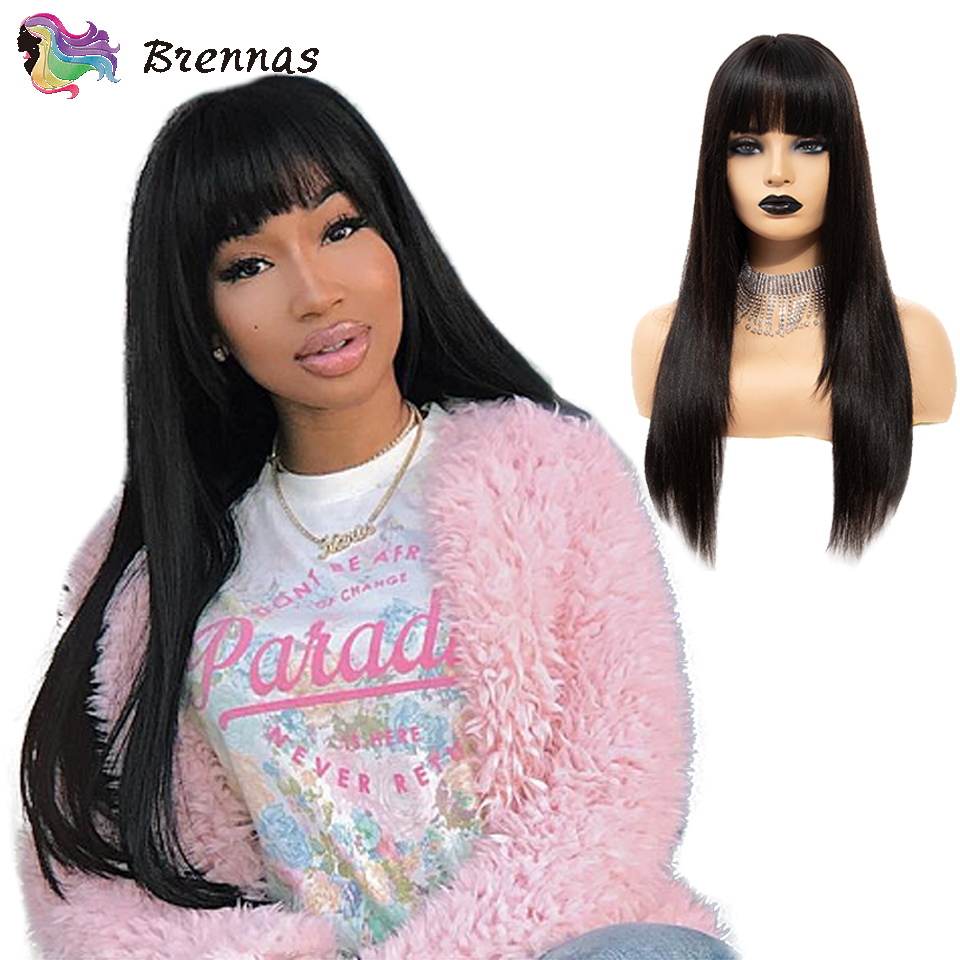 Brennas Lace Front Human Hair Wigs Brazilian Remy Hair Straight Lace Wig With Bangs Glueless Natural Black Color Women 8''-26''