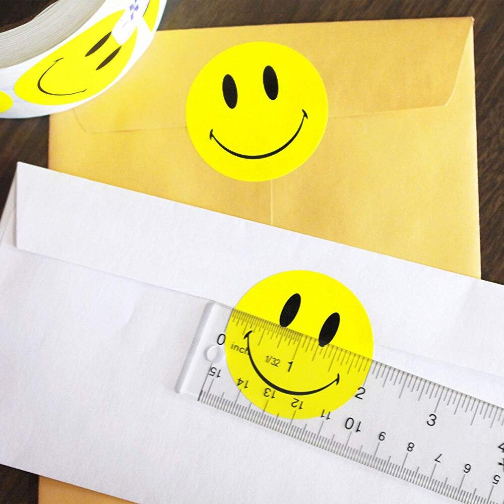 Желтый смайлик счастливый стикер 2 дюйма Круглый уплотнитель клиент офис ткань посылка украшения Этикетка точка Марка бумага 500 шт