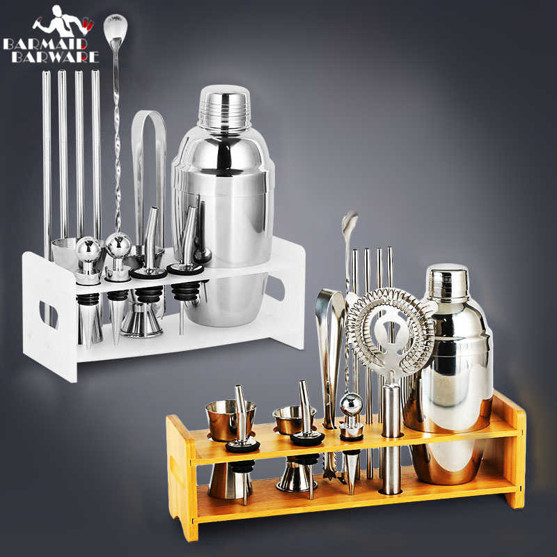 Cocktail Shaker Bar Set Plactic e Supporto In Legno In Acciaio Inox Rame Placcato Cocktail Shaker Bartender browserKit Bar Set Strumenti