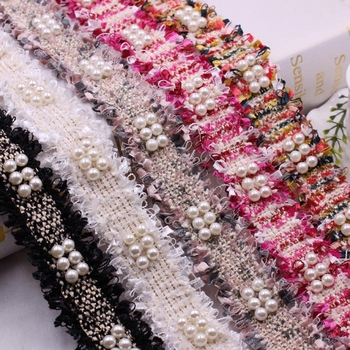 1yards/Lot Vintage Nylon Pearl Beaded Embroidered Lace Ribbon Trim Fabric Costume Dress Sewing Supplies DIY Clothing accessories
