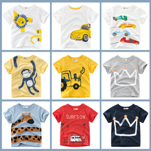 T Shirt Cartoon Animals Baby Kids Boys Girls Children Cotton Short Sleeves Summer Clothing Lion Monkey Print Tee Red Car Toddler