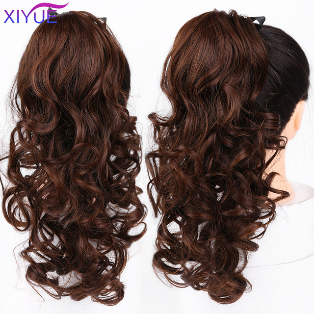 Long Wavy Clip In Hair Tail False Hair Deep Wavy Ponytail Hairpiece With Hairpins Synthetic Hair PonyTail Hair Extension Tail