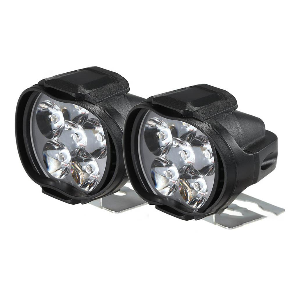 2PCS Motorcycle Spotlight Vehicle Auxiliary Headlamp Fog Lamp 6LED Spotlight + 1 * 22mm Control Switch Motorbike Headlights