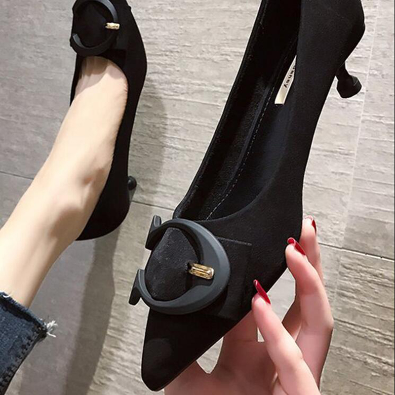 High Heel Shoes Women Shoes Woman Fashion Thin Heel Pointed Flock High 2020 Autumn New Pump Shoes High Heels Work Shoes D369